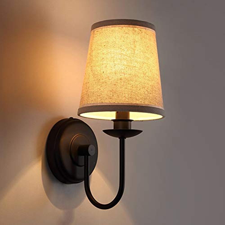 JFFFFWI Balkonwandleuchte im amerikanischen Stil Jane Europe Schlafzimmer Nachttischlampe Lesen Sie die Wandleuchte Moderne Schlichtheit Wrme Stoffwandleuchten Leicht zu reinigen
