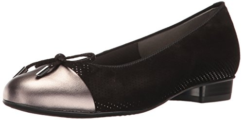 ARA Women's Betty Ballet Flat, Black/Street Combo, 6 M US