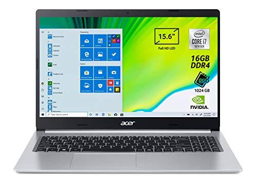 Acer Aspire 5 A515-54G-7768 Notebook con Processore Intel Core i7-10510U, Ram 16 GB DDR4, 1024GB PCIe NVMe SSD, Display 15.6' FHD LED LCD, NVIDIA GeForce MX250 2GB, Windows 10 Home, Silver