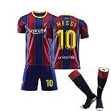 Kimspk Barca Messi 2020/2021 Jersey Y Pantalones Cortos con Los Calcetines De Las Señoras De Los Hombres Jersey Retro, Camisa De Verano Pre-Partido con Calcetines