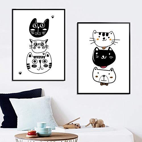 UIOLK Gato Oso Tigre Blanco y Negro Animal Print Kindergarten Arte de la Pared Lienzo Pintura Cartel nórdico...