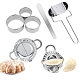 Dumpling Maker Chinese Jiaozi 7 Pcs Stainless Steel Dumpling Mold Set 2 Dumpling Molds 3 Dumpling Skin Maker Chinese Dumpling Cutter Pie Ravioli Empanadas Press Mold Tool for Home Kitchen