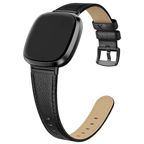 EDIMENS Compatible con Fitbit Versa 3 / Fitbit Sense, correa de piel, correa de piel compatible con Fitbit Versa 3/Sense, pulseras de piel, unisex, deporte