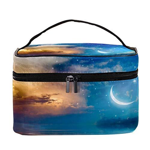 Crescent Stars And Glowing Clouds Above Sea Pattern Cosmétique Storage Organizer - Trousse de toilette de voyage avec poignée, pinceaux de maquillage, rouge à lèvres