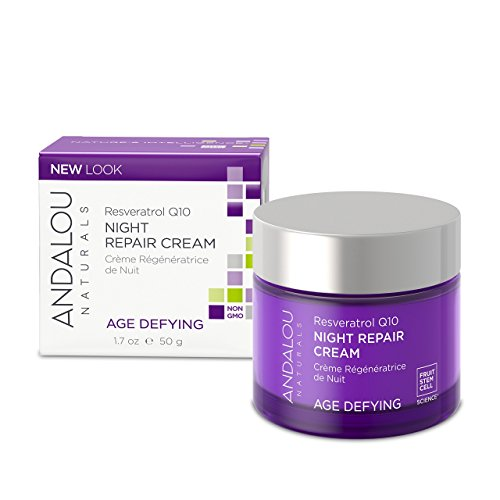 Andalou Naturals Resveratrol Q10 Night Repair Cream, For Dry Skin, Fine Lines & Wrinkles, For Softer, Smoother, Younger Looking Skin Resveratrol Q10 Repair 1.7 Ounce
