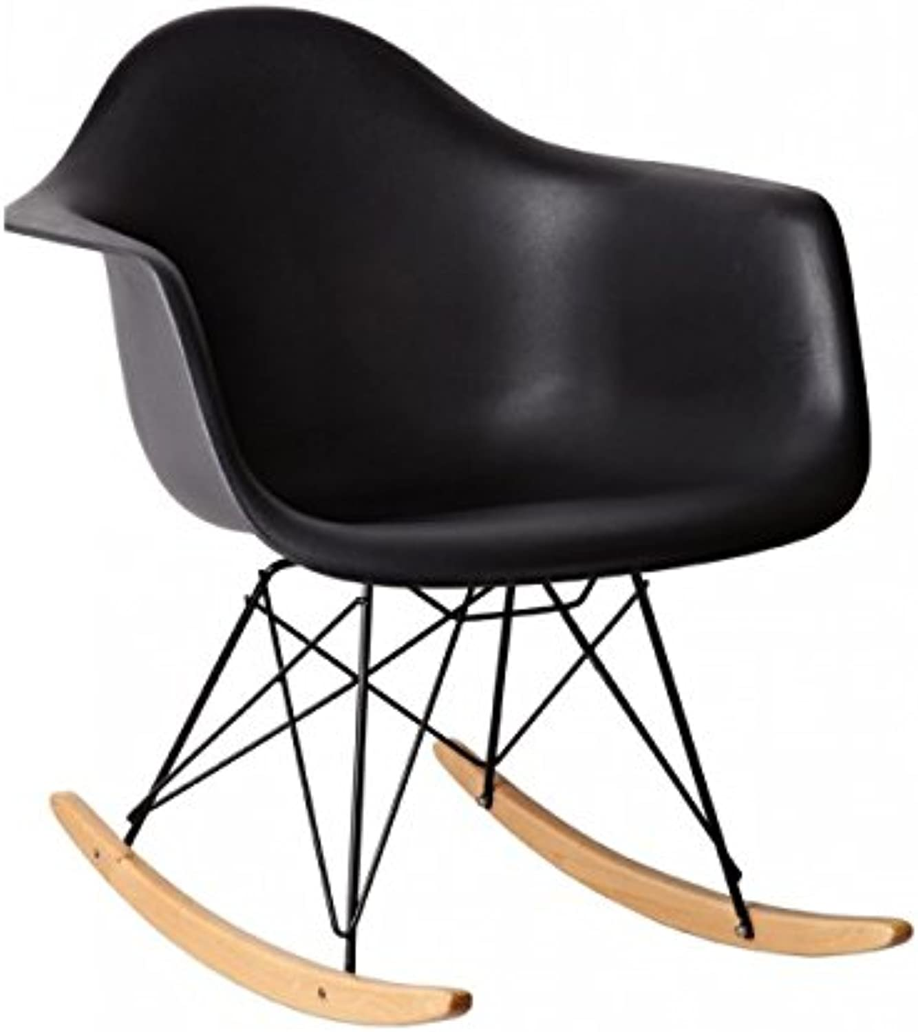 HomeCraft Eames Style Molded Modern Plastic Armchair-Rocking Mid Century Style Lounge Cradle Arm Chair-Contemporary Accent Retro Rocker Chrome Steel Eiffel Base-Ash Wood Rockers-Nursery Living Room-Matte Finish in Black