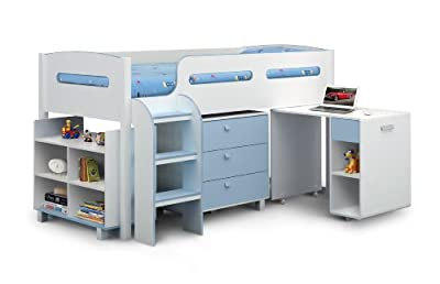 Julian Bowen Kimbo Boys Cabin Bed - Single, White/Sky Blue