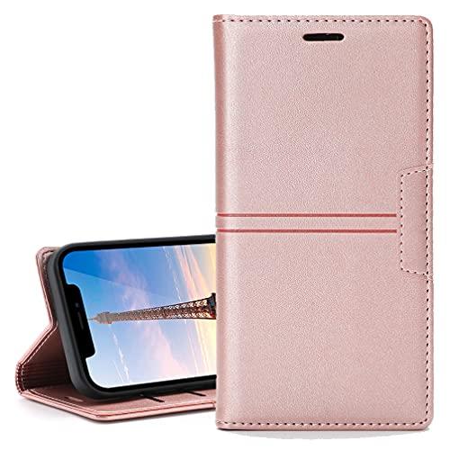 Funda para LG Stylo 5, Carcasa para Retro Elegante Magnético Invisible, [Cuero PU Premium] + [TPU Suave] Fundas para LG Stylo 5 Funda-Oro Rosa