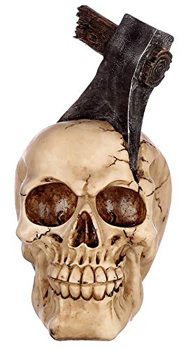 NAMENLOS Gothic-Totenkopf mit Axt im Schädel | Fantasy Skull, Totenschädel, Kopf-Skulptur, Statue, Figur, H 17 cm