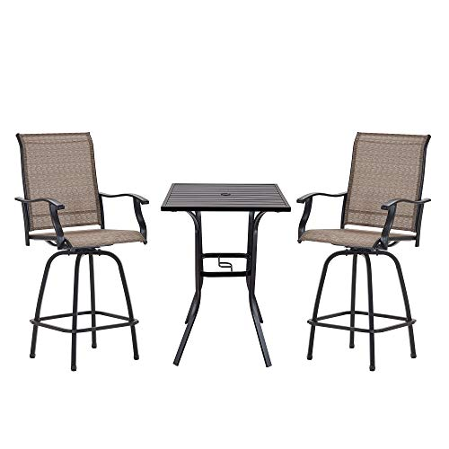 Vicllax Outdoor Bar Stool Bistro Set, 3-Piece Patio Furniture Set, Patio Bistro Table and Bar Chairs