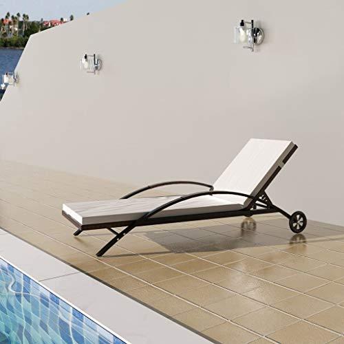 Tidyard Verstellbare Sonnenliege mit Rädern aus Poly Rattan, Gartenliege Relaxliege Liegestuhl Garten Lounge für Garten Terrasse Schwimmbad, 200x65x39 cm Braun