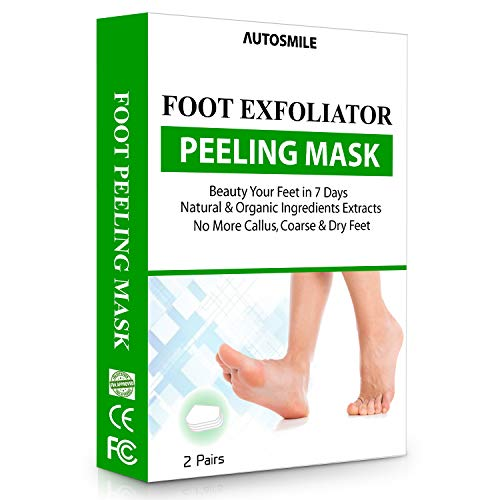 AutoSmile 2 Paar Fußmaske, Hornhaut Entfernung Fuß Peeling Maske Exfoliating Fussmaske für zarte Füße, Fuß Hornhautentferner Peeling Socken,Oliven