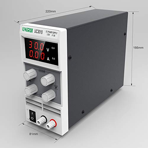 UNIROI DC Bench Power Supply, 0-30V/0-10A Power Supply Available with 3-Digit LED Display, Alligator Clip Leads, Input Power Cord Adjustable Power Supply UC3010