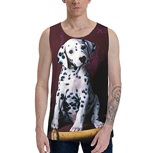 Camiseta sin mangas para hombre con diseño de perro manchado jugando béisbol suave playa  Negro  XL