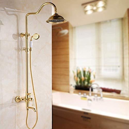 CESULIS Kits de ducha, Mezclador de fregadero de latón dorado, Grifo de pulverización, Juego de ducha de baño antiguo, Juego de ducha de mano de tres funciones