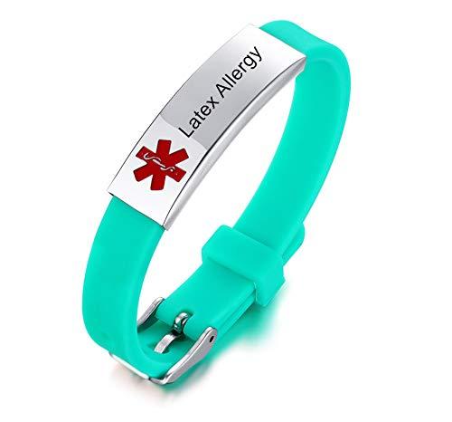 NJ Latex Allergy Medical Alert Bracelet for Boys Girls - Stainless Steel Silicone Sport Band Medical ID Bracelets Latex Allergies Medic Alert Jewelry for Kids Teens Adjustable
