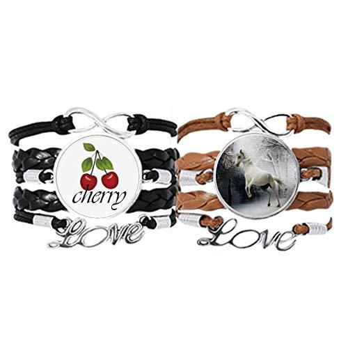 Bestchong Blanco Caballo Ciencia Naturaleza Paisaje Pulsera Correa de mano Cuerda de cuero Cherry Love Wristband Set doble