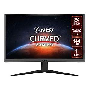 MSI Optix G24C6 – Monitor da gioco curvo da 23,6″, Full HD 16:9 (1920 x 1080), VA, 144 Hz, 1 ms, 1500R, FreeSync Premium, DisplayPort, HDMI, Anti-sfarfallio, meno luce blu, senza cornice, nero