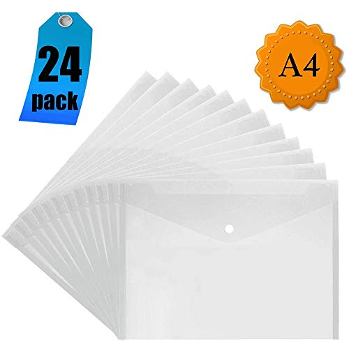 Transparente Dokumententasche A4 - Kunststoffmappen Dokumentenordner Popper Pocket Wallet mit Knopf (24 Stück)