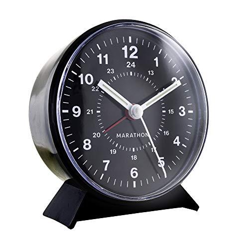 Marathon CL034001BK Mechanical Wind-Up Alarm Clock - Black