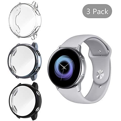 NEWZEROL NUR für Samsung Galaxy Watch Active hülle 40mm (Nicht Active 2) 3 Pack Displayschutzfolie case Weiche Ultradünne TPU Displayschutz HD Anti Scratch All-Around schutzfolie – Klar+Schwarz+Grau