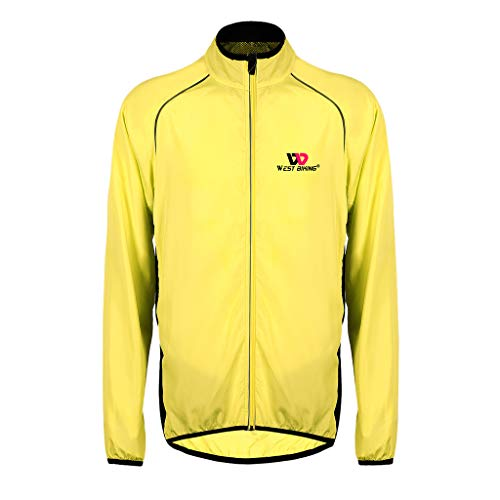 MagiDeal Ciclismo Jersey Chaqueta de Bicicleta Impermeable Ropa Cortavientos a Prueba de Lluvia - Amarillo, M