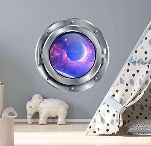 Galaxy Bullauge Wandaufkleber Raumschiff Grafik Aufkleber Planet Bullauge Fenster Wand Decor Kinder Fun Fenster Portal Jungen Zimmer S299