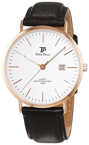 Time Piece - Orologio da uomo, classico, analogico, al quarzo, in pelle, TPGS-32403-41L