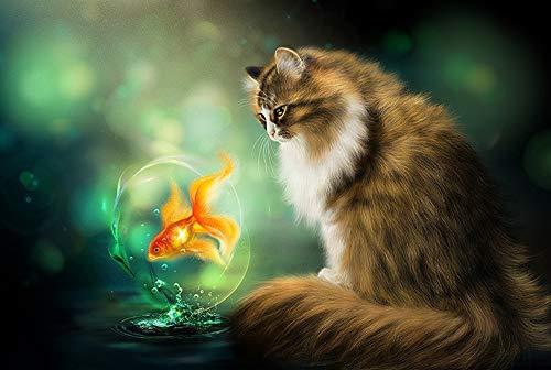 Qilo Rompecabezas de Gatos Gatito del Gato Serie Rompecabezas - Cat Goldfish de observación - 300/500/1000 Pieza de Madera for los Amantes del Gato - Puzzle Juego Interesante decoración d