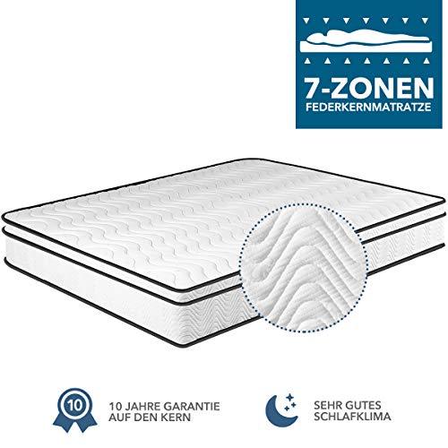 Matratze 90x200x24, 7-Zonen Federkernmatratze Memory Foam & Soft Gestrick H4, Optimale Unterstützung von Lenden- und Beckenbereich Classic Spring (90 * 200 * 24cm)