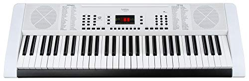 Funkey 61 Edition Keyboard (128 Sounds, 128 Rhythmen, 10 Demo Songs, Netzteil, Notenständer) weiß