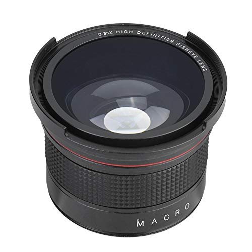 awstroe Lente Ojo de pez 58MM 0.35X Lente Súper Gran Angular para Canon/Nikon/Sony/Minolta/Pansonic/Olympus/Pentax SLR DSLR Camera Black