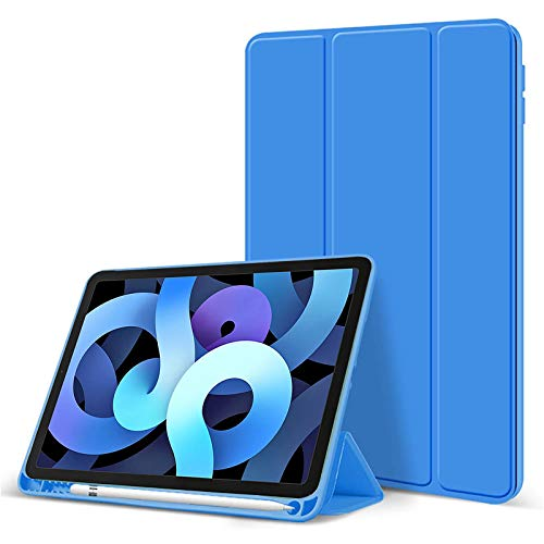 A-BEAUTY Fit New iPad Air 4 2020 10.9 Smart Case with [Apple Pencil Holder][ Ultra Thin][ Auto Wake/Sleep],Surf Blue