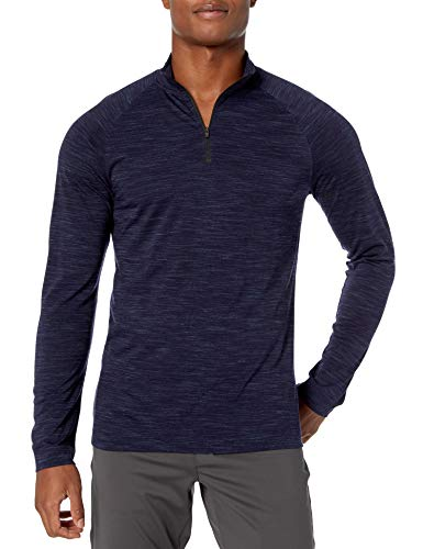 Peak Velocity Merino Jersey Quarter-Zip Mock-Neck Long Sleeve Athletic-Shirts, Navy Melange, US S (EU S)