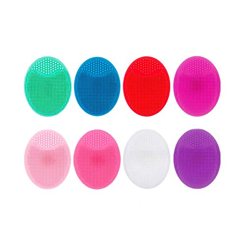 8 PCS Silicone Facial Cleansing Brush, Soft Silicone Face Scrubber Facial Exfoliation Scrub, Manual Facial Cleansing Brush for Removing Blackheads, Christmas Gifts for Teenage Girls, 8 Colors