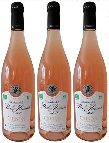Chinon Bio 2018 - Trockener Rosé AOC Wein - in einem Set von 3 Flaschen à 75 cl.