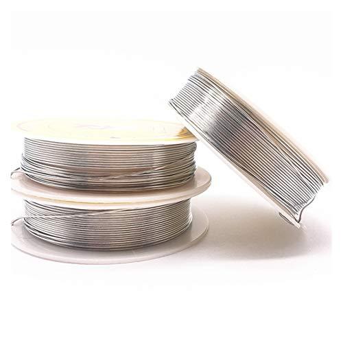 MJS Alambre de Abalorios 0.2/0.3/0.4/0.5/0.6/0.7/0.8/1,0 mm Cables de Cobre de latón for joyería Hacer Colores de Plata (Color : Plata, Talla : 0.2mm(39m))