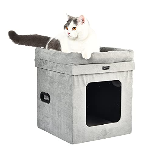 Amazon Basics Collapsible Cube Cat Bed, 15 x 15 x 17 Inches, Grey