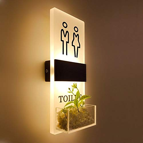 GWM Creative-House, Wanddekoration Schild, Bad Licht Toilette mit Licht-Zeichen-Licht for Männer und Frauen WC (Color : B, Size : 40x16cm)