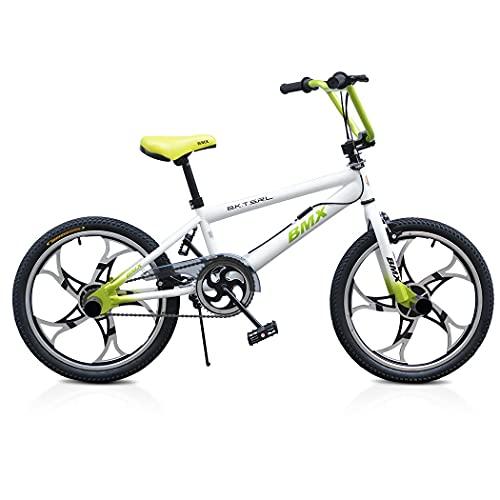 Mediawave Store - Bicicleta BMX One Wheel modelo FreeStyle Talla 20 Bicicleta con llantas de aleación, bicicleta para niños deportiva, ideal para edades 6-8 años (blanco)