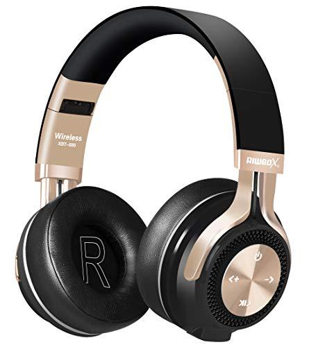 Bluetooth-Kopfhörer, Rriwbox XBT-880 Faltbare, kabellose Stereo-Kopfhörer Over-Ear mit Mikrofon und Lautstärkeregelung, mit und ohne Kabel, für PC/Handys/TV/iPad (Schwarz/goldfarben)
