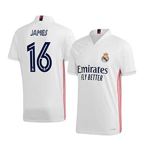F-shop James Rodríguez Real Madrid Weiß,Maillot James Rodríguez Trikot 2020/21 für Herren & Jungen(Weiß,20)