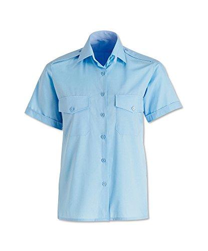Alexandra STC-SG4PB-18 Damen Pilotenhemd, kurzärmelig, einfarbig, 65% Polyester/35% Baumwolle, Größe 18, Hellblau