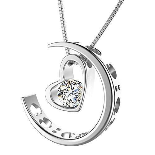 """Kette Damen,Halsketten für Frauen mit doppeltem Herz Kristall Anhänger,Herzketten silber und Rosagold mit Graviert """"I Love You """" (mond herz,silber)"""