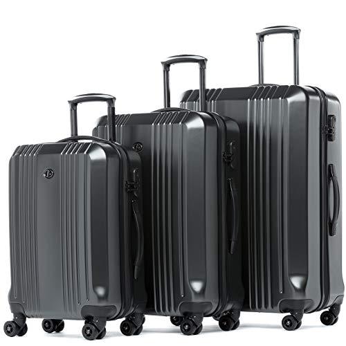 FERGÉ set di 3 valigie viaggio CANNES - bagaglio rigido dure leggera 3 pezzi valigetta 4 ruote grigio