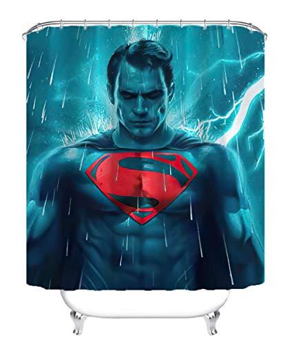 Visionpz Wasserdichter Duschvorhang Superman Hero Movie Character Wasserfester, schnell trocknender Badewannenvorhang aus Polyestergewebe Waschbarer Badevorhang mit 12 Haken 180x180cm