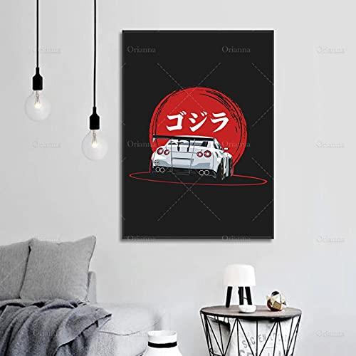 HUUDNHYK Decoración Moderna del hogar Pintura en Lienzo Carteles Retro Nissan GTR 35 Impresión de Arte Cuadro de Pared Modular para Dormitorio Sala de estar-60x90cm Sin Marco