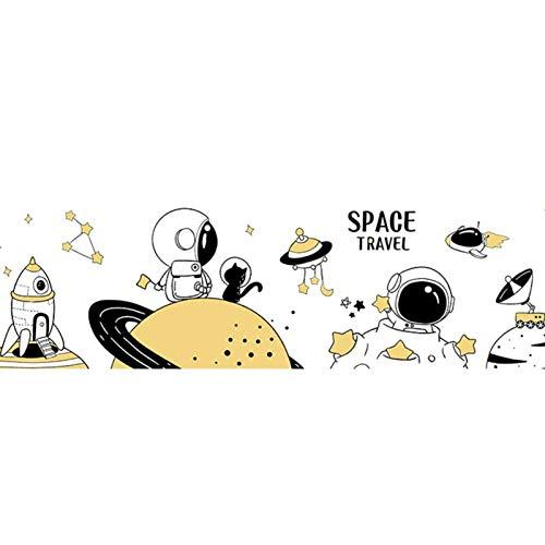 Jcnfa Papel Autoadhesivo De La Historieta Del Astronauta Del Espacio, Diseño De La Sala De Niños, La Pintura De La Decoración De La Etiqueta Engomada De La(Size:18.11*63.77in,Color:Borde del Universo)