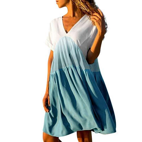 iYmitz Damen Strandkleid Lässige Patchwork Farbverlauf V-Ausschnitt Kurzarm Rüschen...