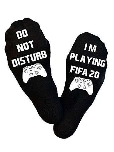 I'm Playing Fifa 20 Xbox, calzini Xbox per videogiochi, tifosi di calcio, Xbox, calze di Natale, regalo di compleanno, giocatore, calza Nero L